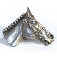 Emenee MK1127AMS, Knob, Horse Head, Antique Matte Silver