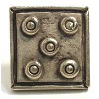 Emenee MK1134ABR, Knob, 5-Dot Square, Antique Matte Brass