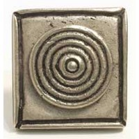Emenee MK1135ABR, Knob, Bullseye On Square, Antique Matte Brass