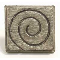 Emenee MK1138AMS, Knob, Swirly Square, Antique Matte Silver