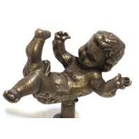 Emenee MK1215ABR, Knob, Baby, Antique Matte Brass