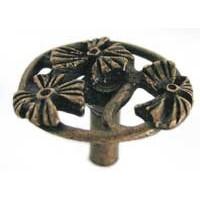 Emenee OR140ABR, Knob, 3 Open Flowers, Antique Matte Brass