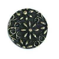 Emenee OR160ABS, Knob, Small Flower Filigree, Antique Bright Silver