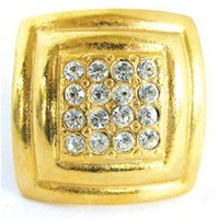 Emenee OR164BG, Knob, Large Rhinestone Square Rim, Bright Gold