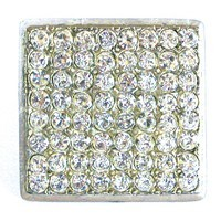 Emenee OR166BS, Knob, Large Square Rhinestone, Bright Silver