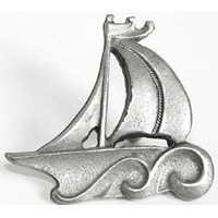 Emenee OR209ABS, Knob, Sailboat, Antique Bright Silver
