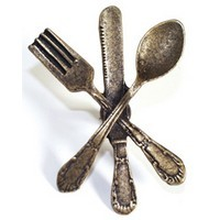 Emenee OR251ABS, Knob, Fork Knife & Spoon, Antique Bright Silver
