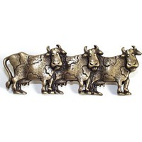 Emenee OR252AMS, Pull, 3 Cows (R), Antique Matte Silver