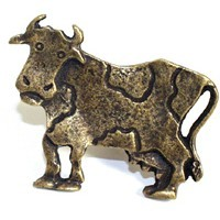 Emenee OR253ABB, Knob, Cow (R), Antique Bright Brass