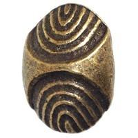 Emenee OR274ABS, Knob, Ridged Oval, Antique Bright Silver