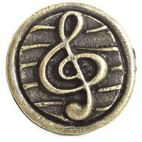 Emenee OR281ABR, Knob, G-Clef, Antique Matte Brass