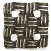 Emenee OR295ABS, Knob, Basket Weave, Antique Bright Silver