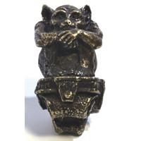 Emenee OR370ABS, Knob, Sitting Gargoyle, Antique Bright Silver