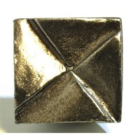Emenee OR374ABS, Knob, Notched Square, Antique Bright Silver