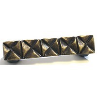 Emenee OR375ABR, Handle, Notched Square, Antique Matte Brass