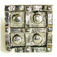 Emenee OR376ABS, Knob, 4 Button Square, Antique Bright Silver