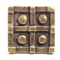 Emenee OR377ACO, Knob, Square Dotted, Antique Matte Copper