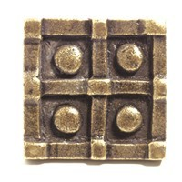 Emenee OR377ABS, Knob, Square Dotted, Antique Bright Silver