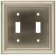 Liberty Hardware 64208, Double Switch Wall Plate, Length 6-11/16, Satin Nickel, Architectural