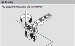 Image of expanding dowel fixing a hinge