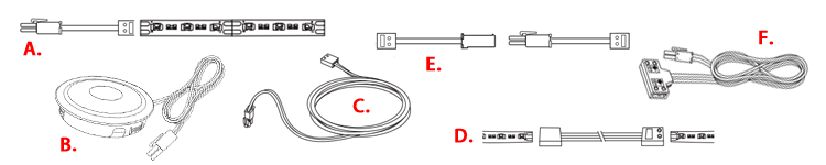 Different types of LED Lead Cords, Link Wires, and Jumpers