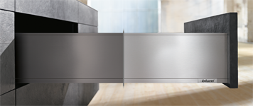 image of split LEGRABOX showing stainless steel and matte Orion gray finishes