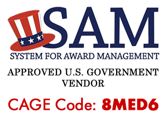 SAM.gov logo stating Woodworker Express is an Approved U.S. Government Vendor. Our CAGE Code is 8MED6.