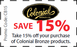 Colonial Bronze Coupon for 15% off Colonial Bronze products - Coupon CB15