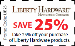 Liberty Coupon for 25% off Liberty hardware products - Coupon LIB25