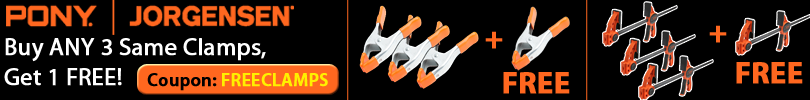 Buy 3 of the Same Pony-Jorgensen Clamps and Get a 4th Clamp Free