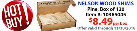 Hot Buy - Wood Shims discounted until end of November 2018